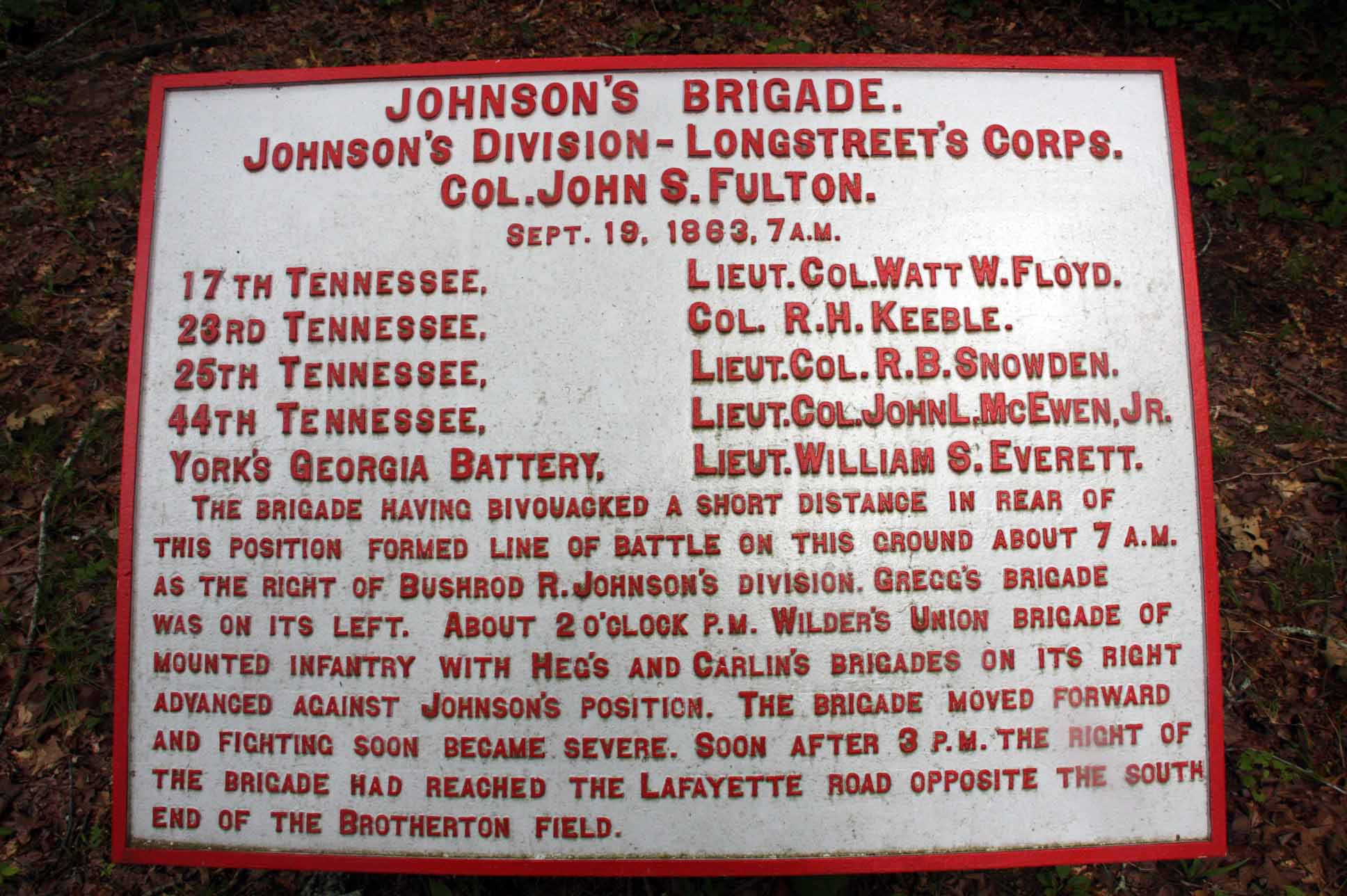 Johnson's Brigade Tablet, click photo to enlarge.
