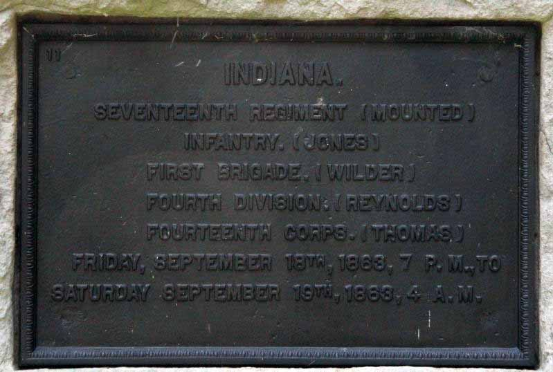 17th Indiana Mounted Infantry Regiment Marker, click photo to enlarge.