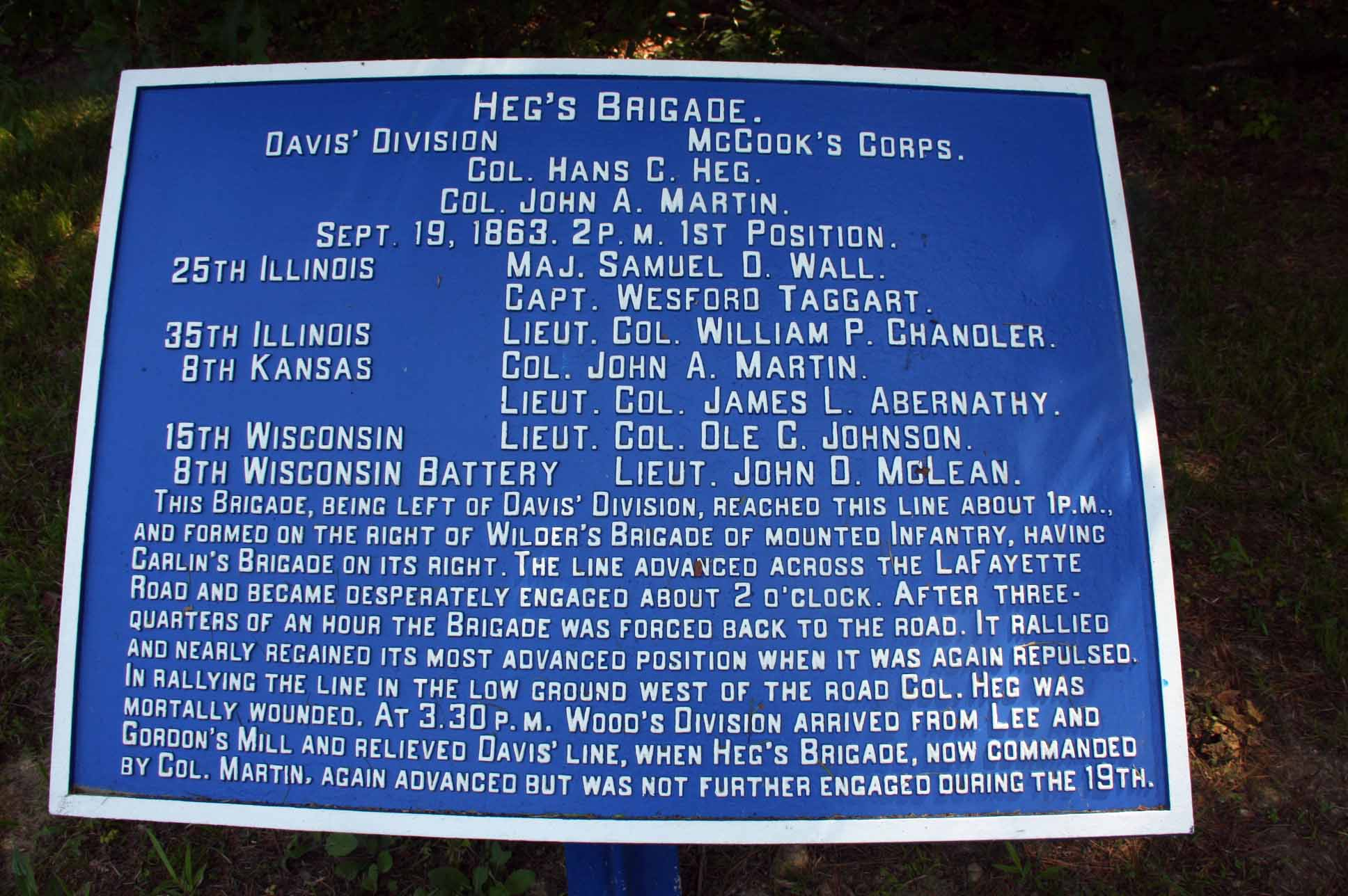 Heg's Brigade Tablet, click photo to enlarge.