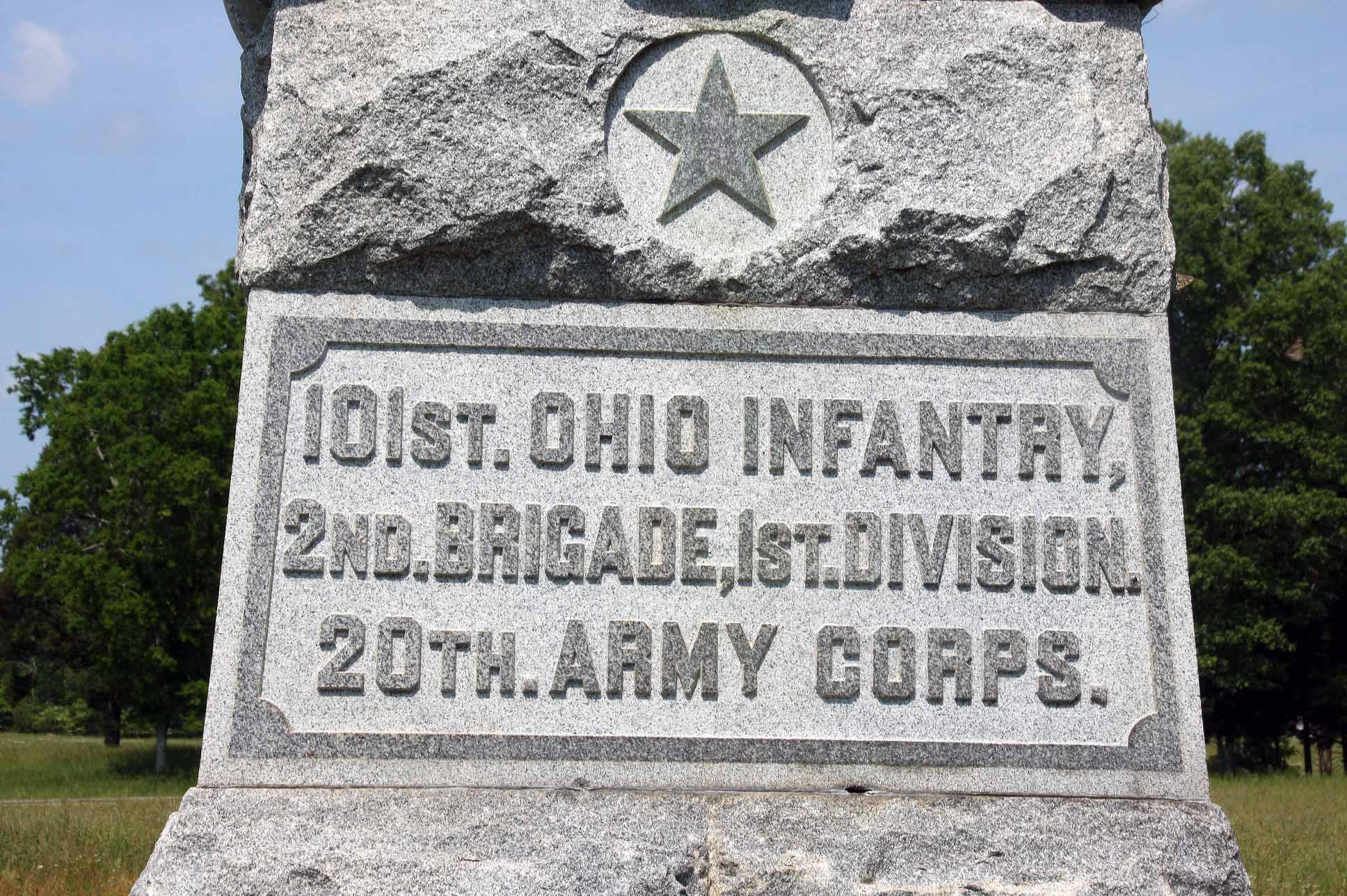 101st Ohio Infantry Regiment Monument, click photo to enlarge.