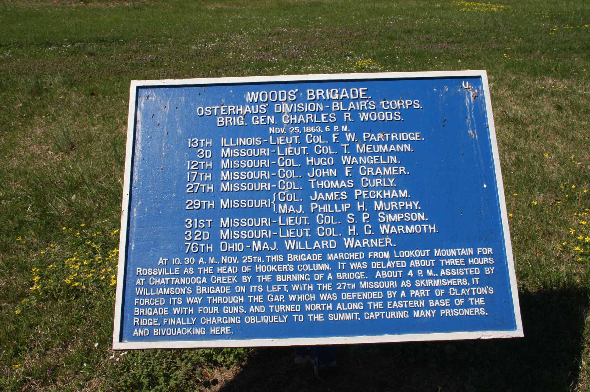 Woods' Brigade Tablet, click photo to enlarge.