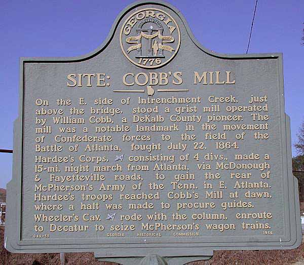 Site: Cobb's Mill, click photo to enlarge.