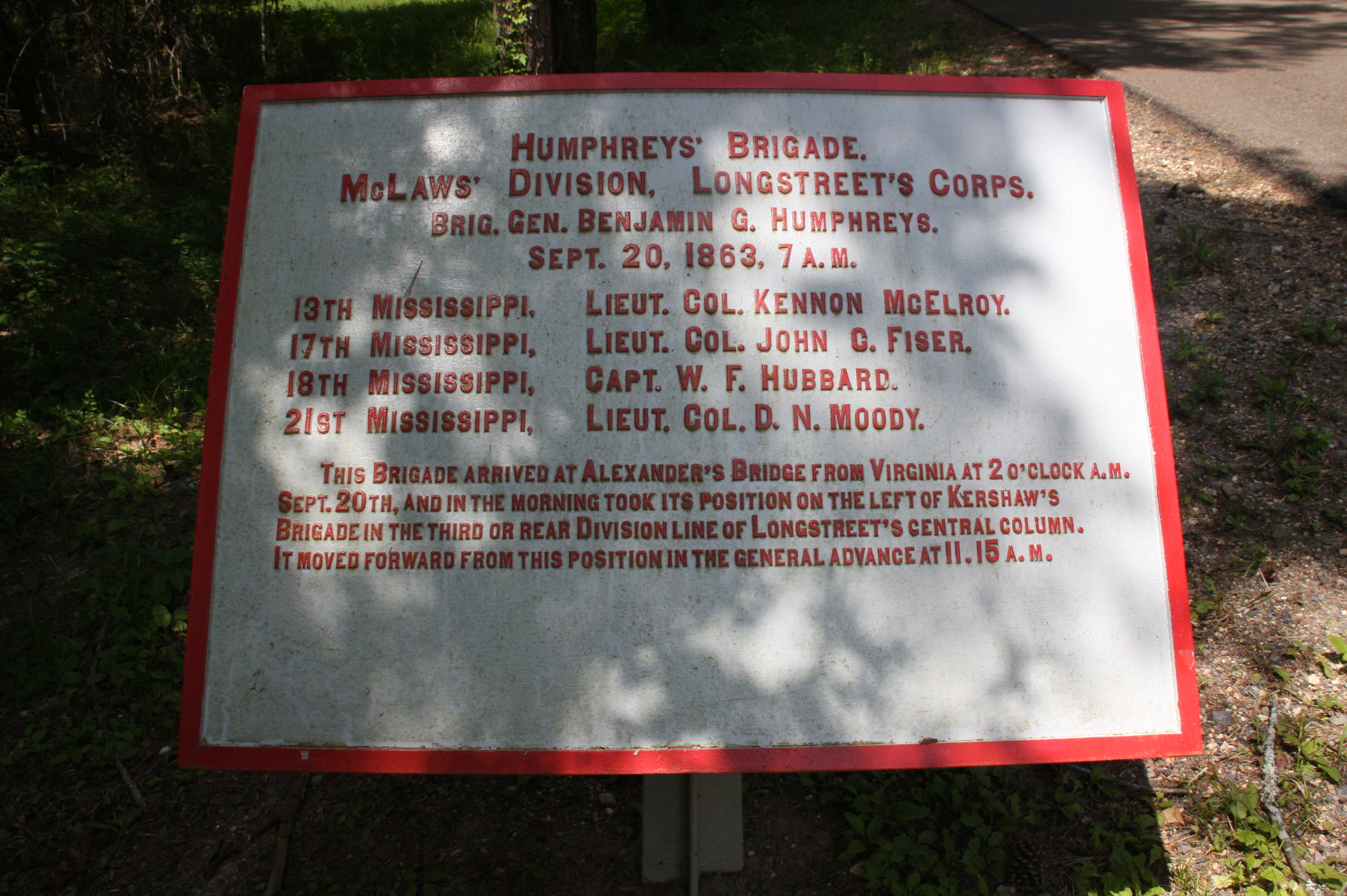 Humphrey's Brigade Tablet, click photo to enlarge.